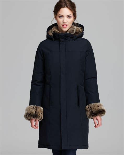 lyst woolrich coat boulder fur trim hood  blue