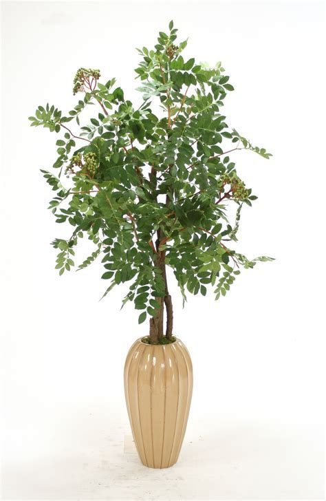 Silk Mountain Ash Floor Plant in Tall Tan Earthenware Vase