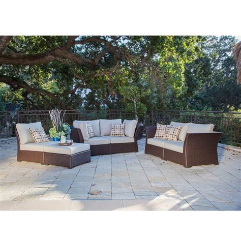 corvus oreanne 6 sorrel wicker outdoor seating set with pillows