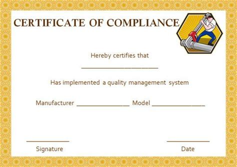 plumbing certificate  compliance template printable