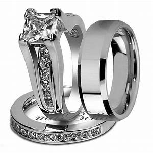 Couple 3 Pcs His Tungsten Her Bridal Stainless Steel