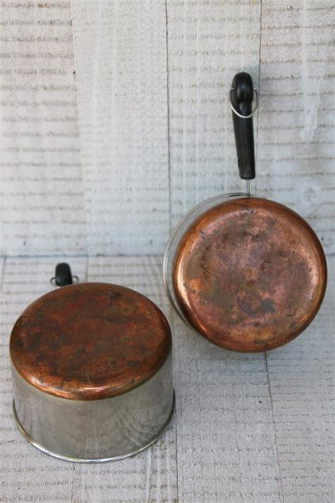 vintage copper bottom revere ware sauce pans tiny  cup toy kitchen size working cookware