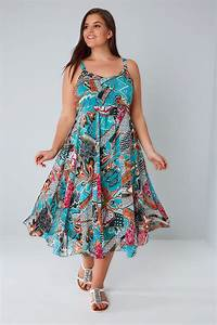Blue  U0026 Multi Bright Pattern Dress With Embellished