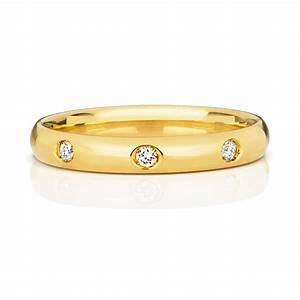 womens 18ct gold 3mm 3 diamonds wedding ring 15561 With womens 18ct gold wedding rings