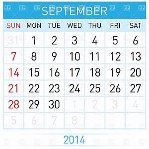 September 2014 Month Calendar Vector Image  U2013 Vector