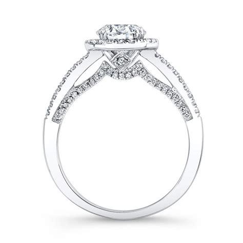 18k white gold double pitch gallery diamond halo