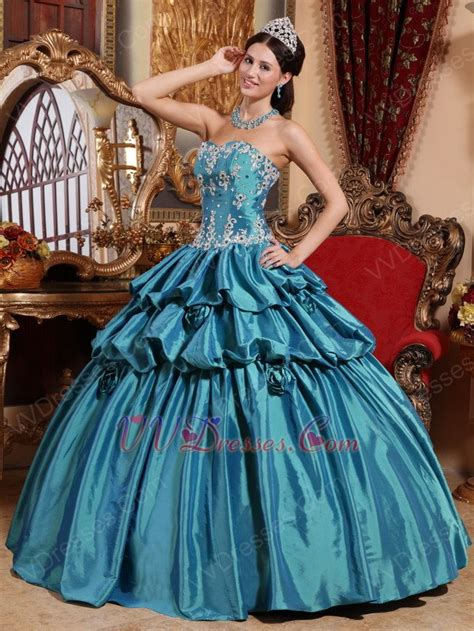 teal princess ball gown prom dress  applique