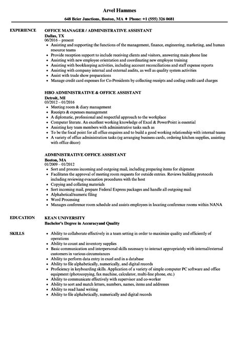 Office Assistant Resume by Administrative Office Assistant Resume Sles Velvet