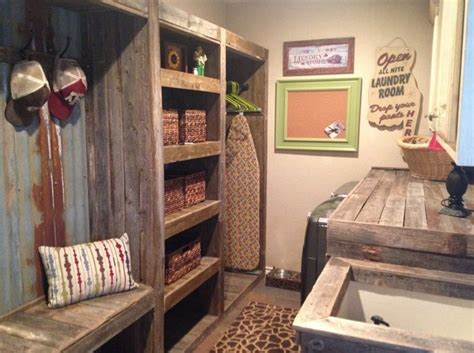 Old wooden laundry storage for rustic laundry room decor