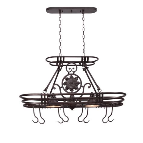 hanging pot rack hooks pot rack lighted w two bell shades copper finished 8