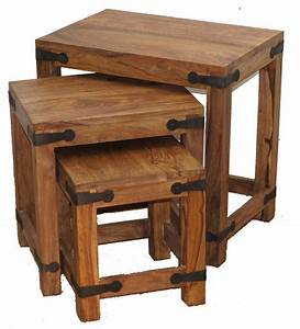 thaket wooden nesting tables set of 3 rustic coffee With rustic wood coffee table set