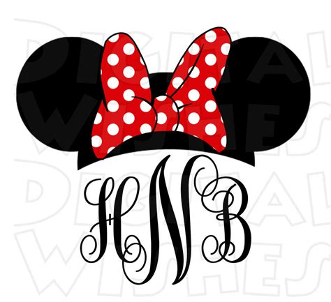 minnie mouse monogram minnie mouse ears monogram personalized initials digital