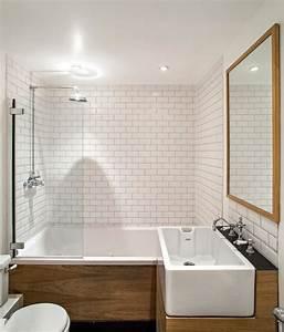 carrelage metro blanc dans la cuisine et la salle de bains With carrelage metro pour salle de bain