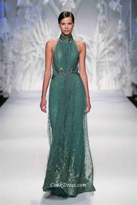 sleeveless evening gown halter neck sheer teal green tulle couture evening