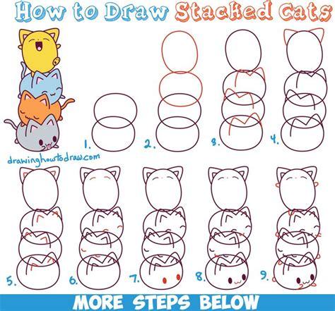 draw cute kawaii cats stacked  top