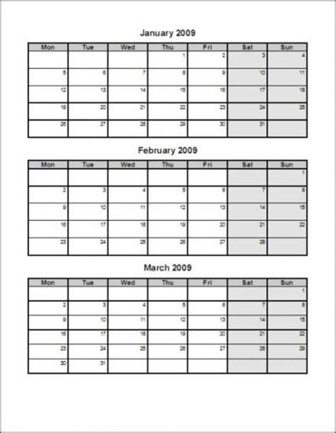 Calendar Template 3 Months Per Page by Printable Calendar 3 Months Per Page Printable Calendar