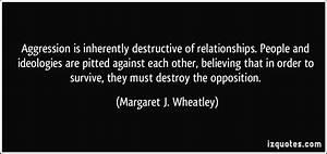Aggression is i... Destructive Relationship Quotes