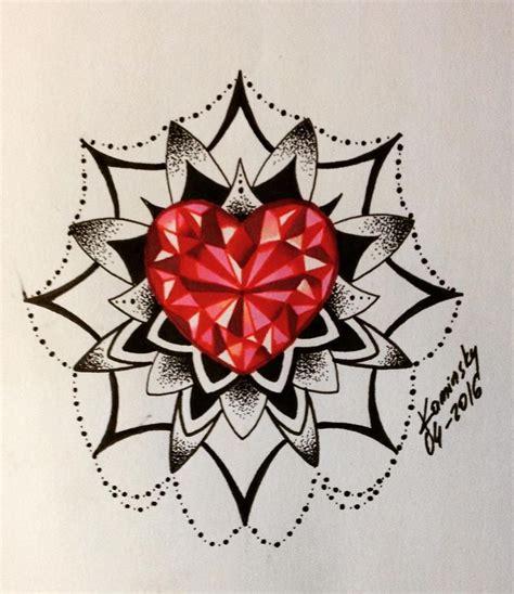 mandala diamond tattoo tattoo diamond heart diamond