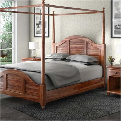 canopy bed wood livingston handcrafted solid wood canopy bed