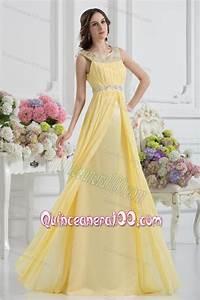 Empire Scoop Beading Ruching Light Yellow Dresses for Dama ...