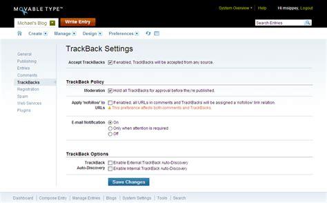 Trackback Settings