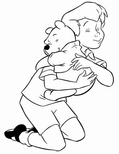 Coloring Pooh Hugging Robin Winnie Christopher Pages