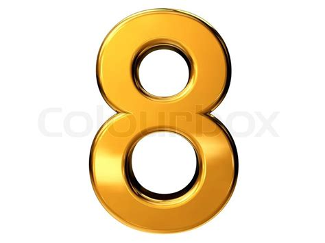 Gold Number Eight Isolated On White Background Stock Photo