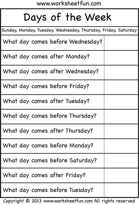 days   week worksheet english lessons  kids
