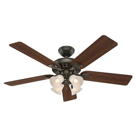 lowes ceiling fans with lights shop hunter westminster 52 in new bronze downrod or flush