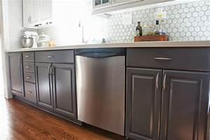 gray and white kitchen makeover hexagon tile backsplash 1003