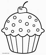 Coloring Pages Cupcake Cute Print sketch template