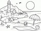 Coloring Printable Sheets Lighthouse Shore sketch template
