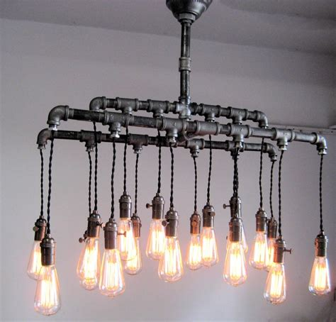 diy rustic pendant light industrial custom rustic pipe and cloth cord chandelier