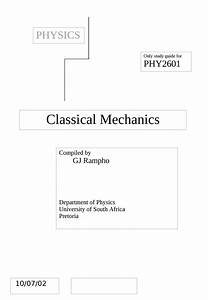Classical Mechanics Study Guide - Phy2601 - Unisa