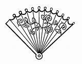Rococo Fan Coloring Hand Coloringcrew sketch template