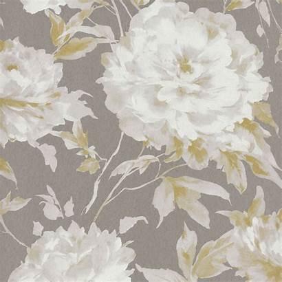 Casadeco Taupe Yellow Wallpapers Fleur Grande Fabrics
