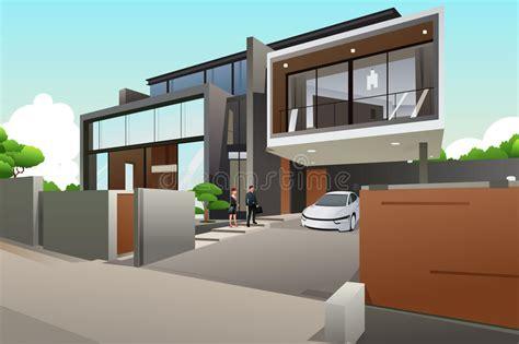 le style rice dans maison les gens dans une maison moderne de style illustration de