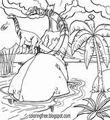 Jurassic Coloring Pages Dinosaur Dinosaurs Prehistoric Printable Park Drawing Herd Walking Print Cool Neck Long Grasslands Sauropods Rest Open sketch template