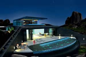 kitchen island design home with infinity pool and glass bottomed pool rendered in 3d