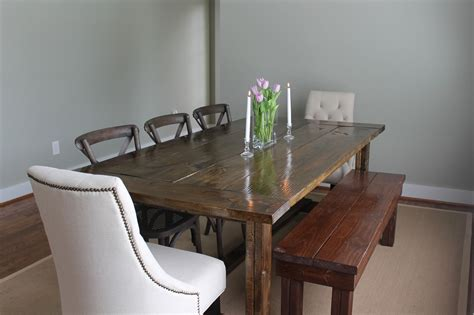 Country Style Large Farmhouse Dining Table With Flower