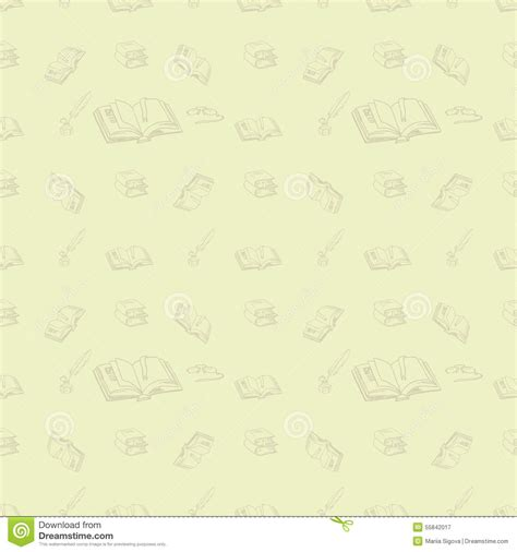 open bookcase white doodle library book seamless vector pattern background