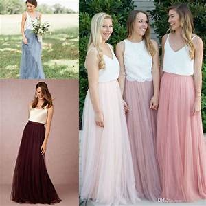 2017 two piece long country bridesmaid dresses floor With two piece dresses for wedding guest