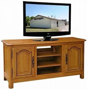Meuble Tv Rustique : meuble tv pour ecran plat 2 portes et 1 niche en chene ~ Nature-et-papiers.com Idées de Décoration