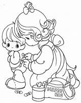 Coloring Pages Diaper Changing Precious Moments sketch template
