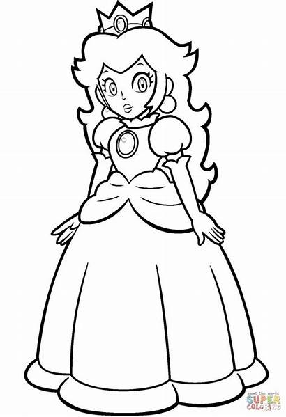 Peach Mario Coloring Princess Easy Anime A4