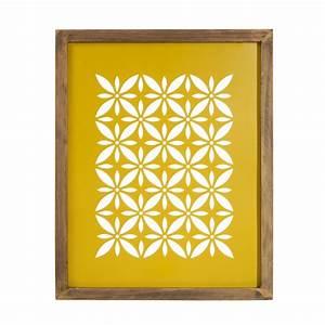 Tableau Du Monde : tableau en bois et m tal jaune 32 x 40 cm vintage cut maisons du monde ~ Teatrodelosmanantiales.com Idées de Décoration