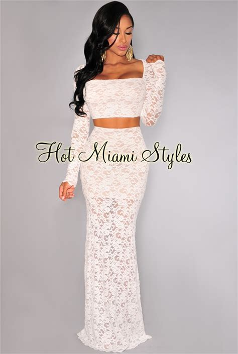White Lace Long Sleeves Maxi Two Piece Set