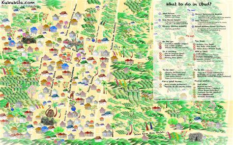 ubud illustrated ubud map  information