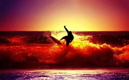 Surfing Sunset Ocean Wallpapers Desktop Pixelstalk