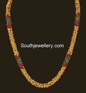 Antique Gold Ruby Emeralds Chain - Jewellery Designs